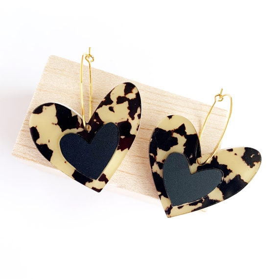 Acrylic Heart Hoops - Light Leopard and Matt Black