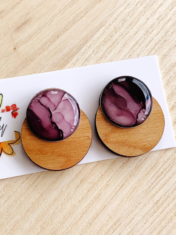 Hand-Painted Ink + Cherry Wood Statement Studs