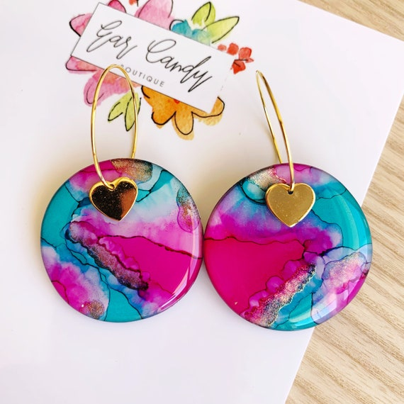 Turquoise + Pink Ink + Resin 3.5cm Hoops