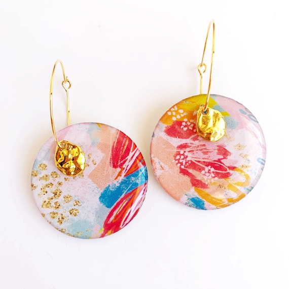 Hand Drawn Gold Hoop Earrings- Abstract