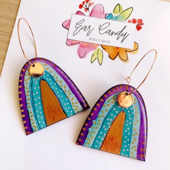 Inky Rainbow Rose Gold Hoop Earrings