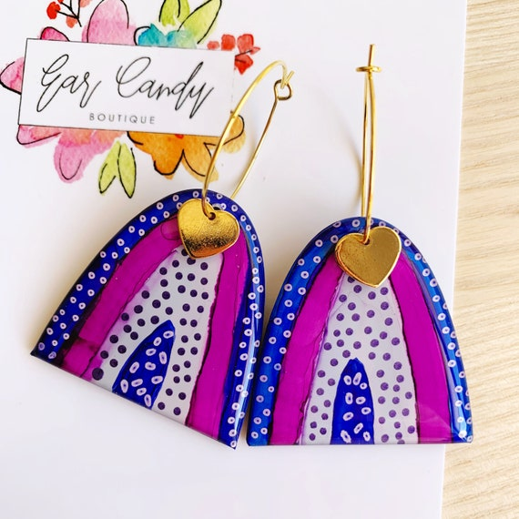 Inky Rainbow Gold Hoop Earrings