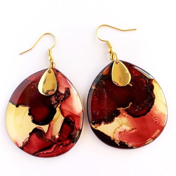 Crimson, Rust + Gold Ink + Resin 4.3cm Hook Drop Earrings