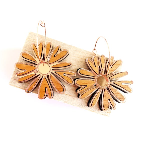 Acrylic Daisy Hoops - Warm Cherry Wood + Rose Gold Mirror Acrylic