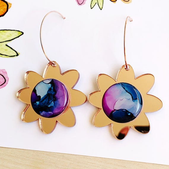 Ink + Rose Gold Mirror Rose Gold Daisy Hoops