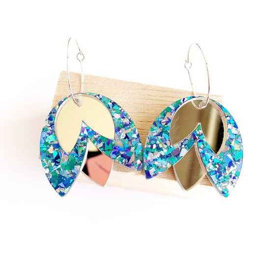 Acrylic Tulip Hoops - Turquoise Glitter + Silver Mirror