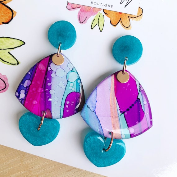 Hand-Painted & Turquoise Shimmer Heart Drop Earrings
