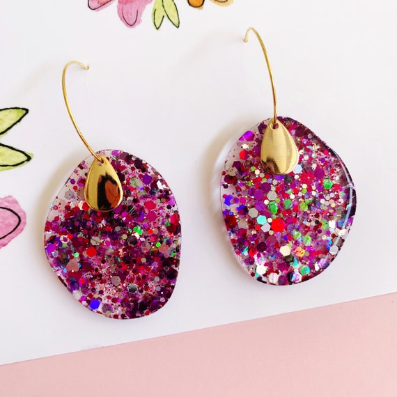 Purple Rainbow Glitter Gold Hoop Earrings