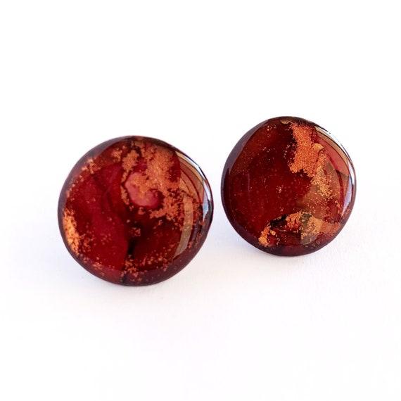 Crimson, Rust + Gold Ink + Resin 2cm Statement Studs