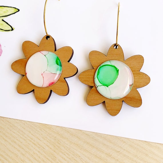 Ink + Cherry Wood Gold Daisy Hoops