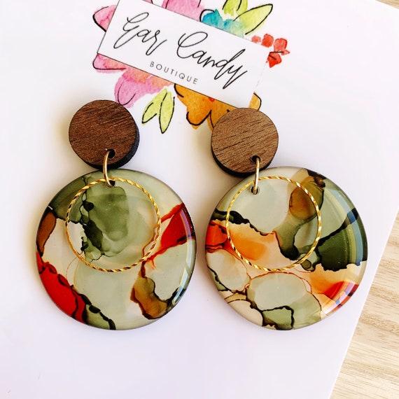 Bush Green + Caramel Ink + Resin 4.5cm Drop Earrings