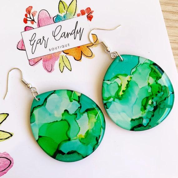 Green Ink + Resin 4.3cm Hook Drop Earrings