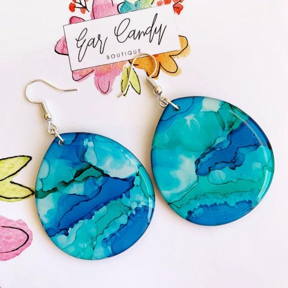 Turquoise Ink + Resin 4.3cm Hook Drop Earrings