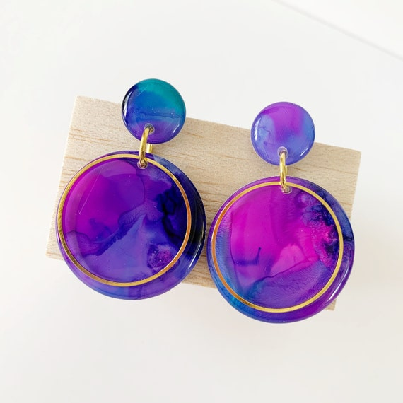 Painted Dangle Earrings - Swirly Pink + Purple with Gold Findings