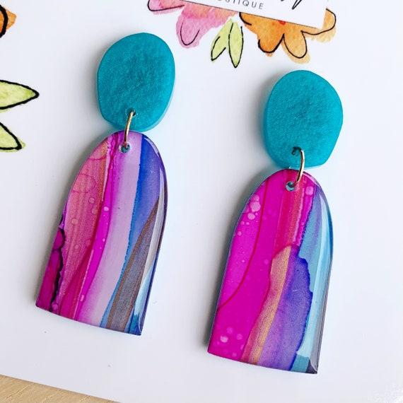 Hand-Painted Drop Earrings