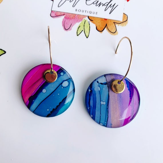 Dainty Hand-Painted Hoop Earrings