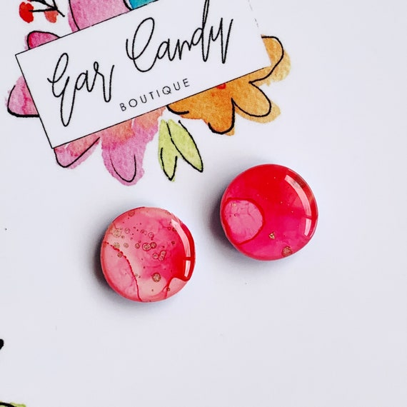 Rosy Pink Ink + Resin 1.5cm Studs