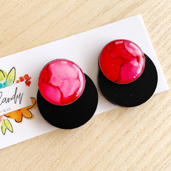Hand-Painted Ink + Matte Black Acrylic Statement Studs