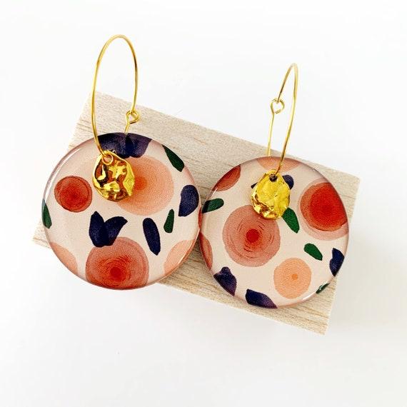 Hand Drawn Gold Hoop Earrings- Watercolour Blooms