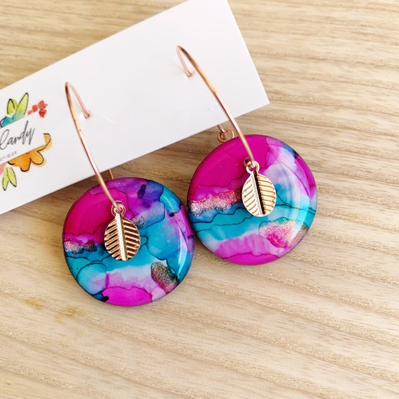 Pink + Turquoise  Ink + Resin 2.5cm Rose Gold Hoops