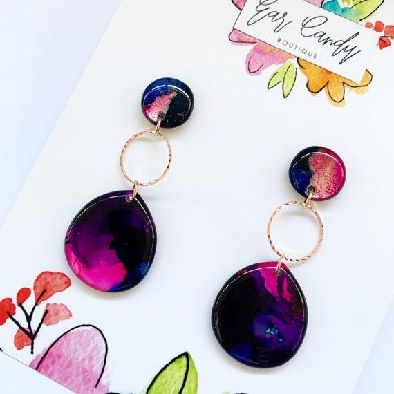 Multicoloured Ink + Resin 6cm Drop Earrings