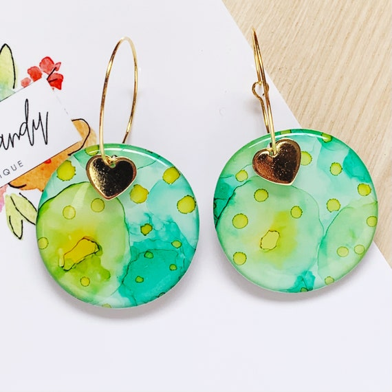 Green, Turquoise and Yellow Ink + Resin 3.5cm Hoops