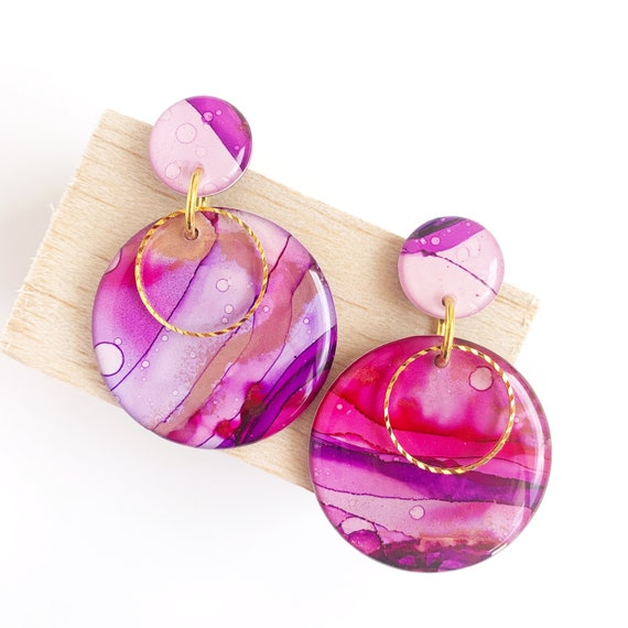 Painted Dangle Earrings - Pink + Purple  with Gold Findings