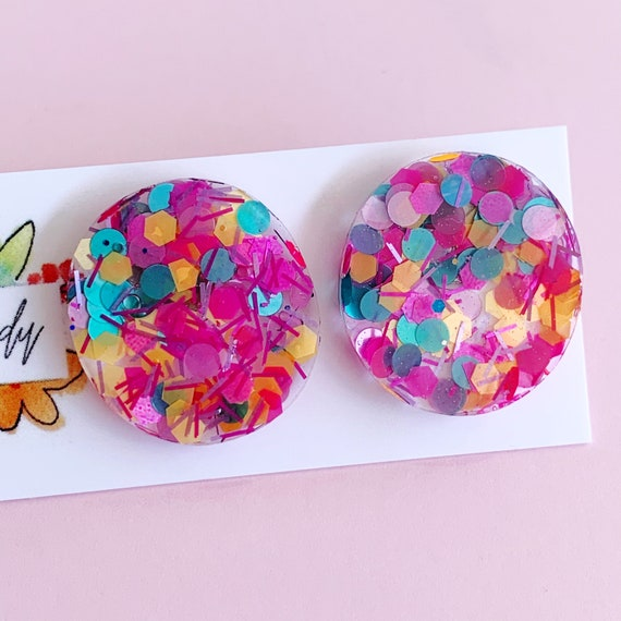 Rainbow Glitter Studs