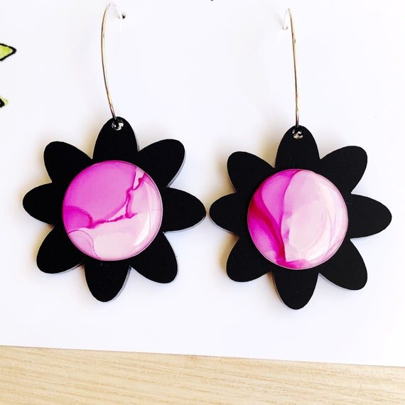 Ink + Matt Black Acrylic Silver Daisy Hoops