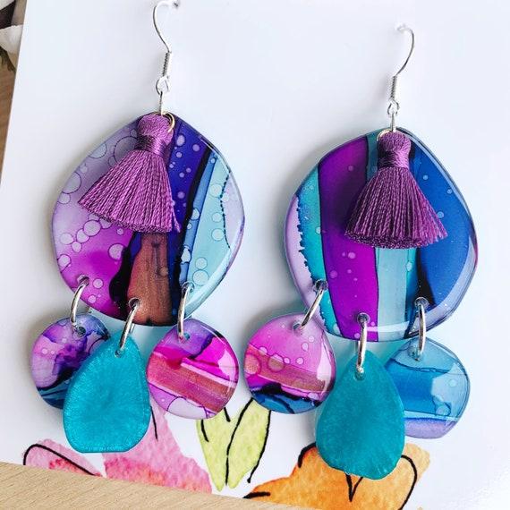 Hand-Painted Statement Hook Drop Earrings