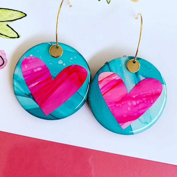 Contrast Heart Ink + Resin 3.5cm Gold Hoop Earrings