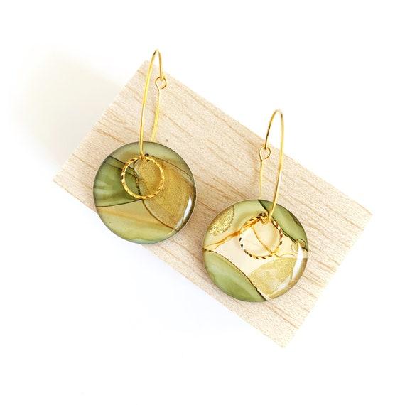 Painted Petite Gold Hoop Earrings - Light Bush Green
