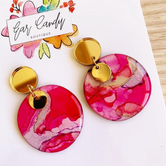 Purple + Pink Ink + Resin 4.5cm Drop Earrings
