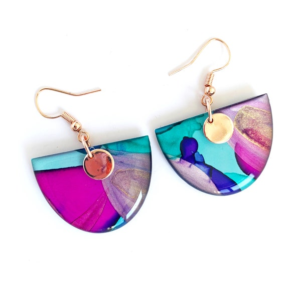 Painted Petite Semi Circle Hook Dangles - Multicoloured