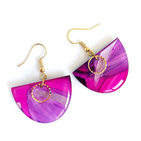 Painted Petite Semi Circle Hook Dangles - Pink + Purple