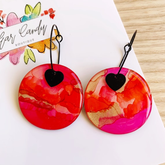 Pink + Orange Ink + Resin 3.5cm Hoops