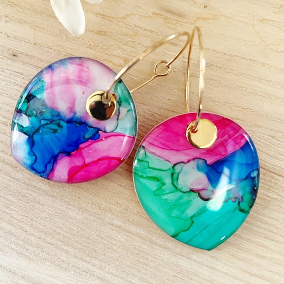 Dainty Hand-Painted Petal Hoop Earrings