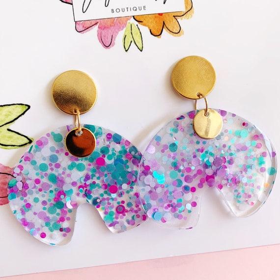 Glitter Purple & Turquoise Drop Earrings