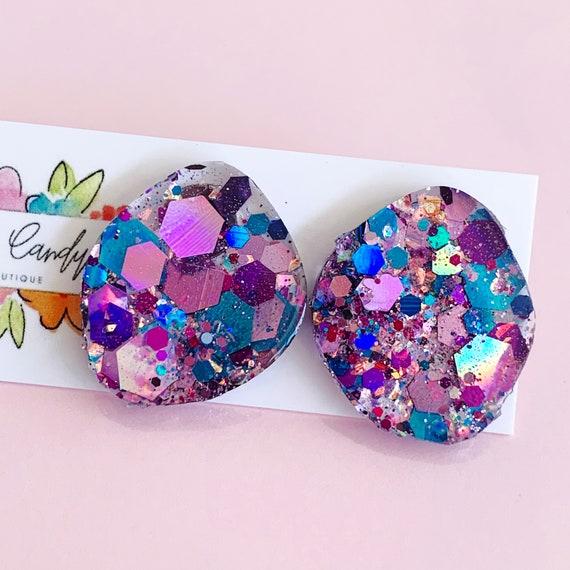 Blue & Purple Glitter Studs