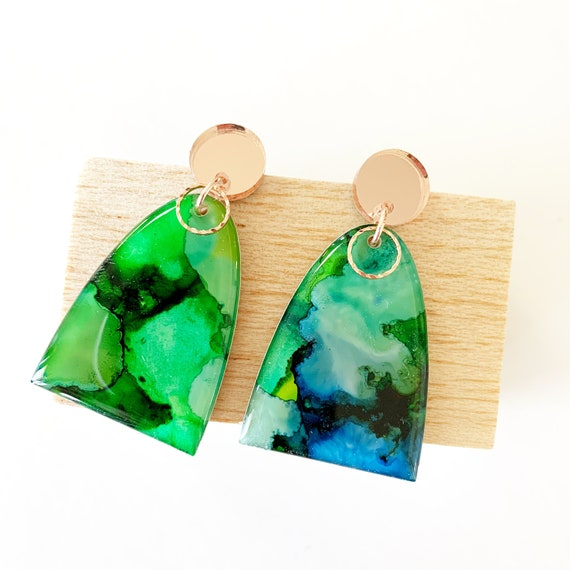 Painted Dangle Earrings - Green + Blue