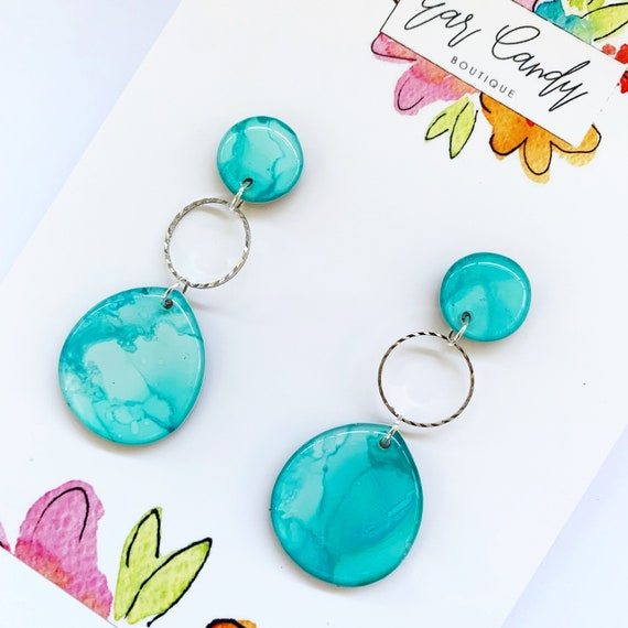 Aqua Ink + Resin 6cm Drop Earrings