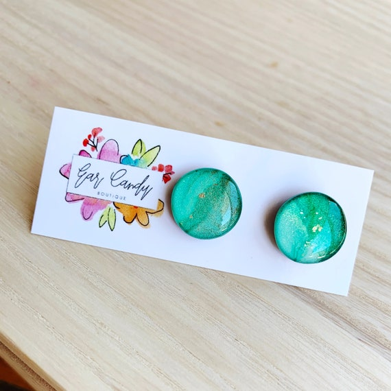 Turquoise Ink + Resin 1.5cm Studs