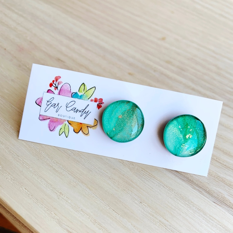 Resin 1.5cm Studs Turquoise Ink