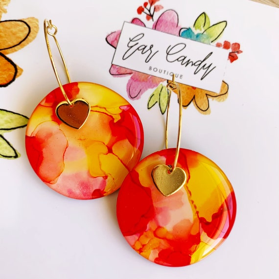 Red + Yellow Ink + Resin 3.5cm Hoops