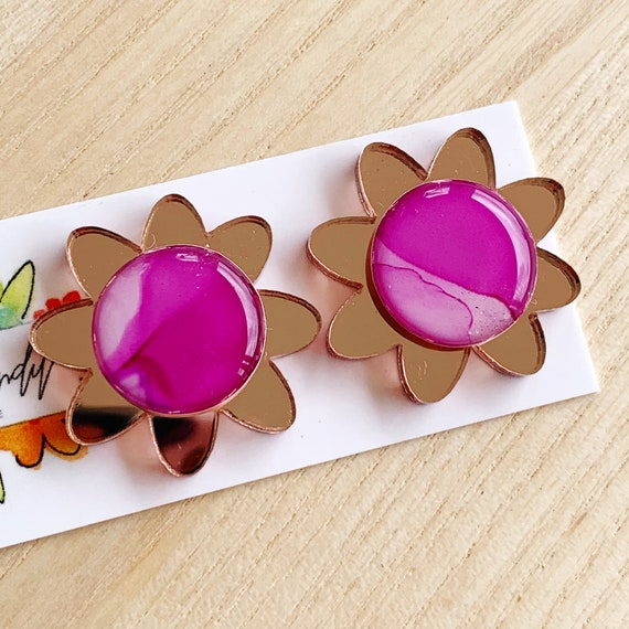Hand-Painted Ink + Rose Gold Mirror Daisy Studs