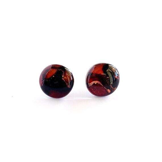 Crimson + Rust Ink + Resin 1.2cm Studs
