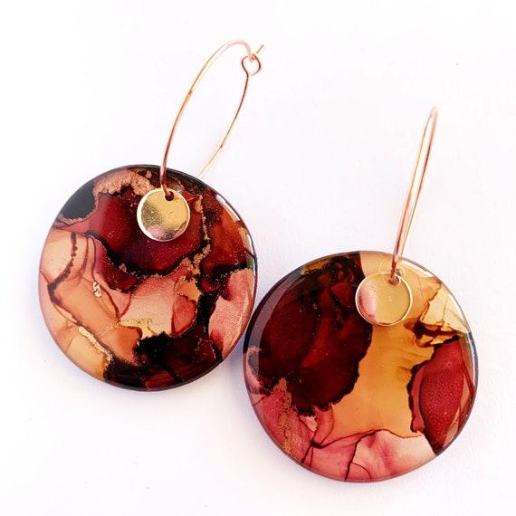 Crimson, Rust + Gold Ink + Resin 3.5cm Hoops
