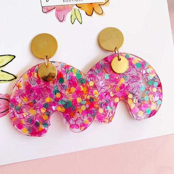 Glitter Rainbow Drop Earrings