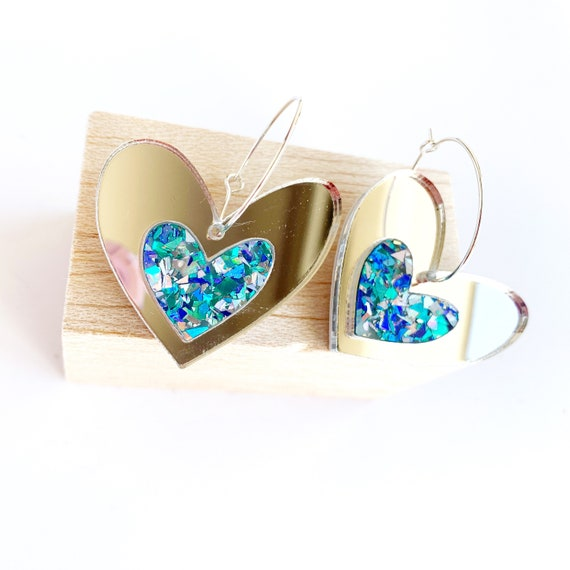Acrylic Heart Hoops - Silver Mirror + Turquoise Glitter
