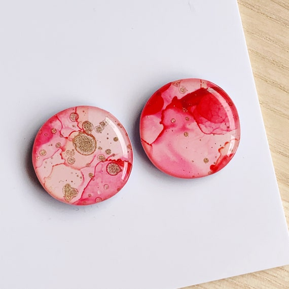 Pink Ink + Resin 2cm Statement Studs